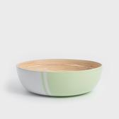WAGA 清新南洋 30cm手工竹沙拉碗-粉豆綠