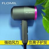 抖音吹風機網紅款負離子家用護發電吹風220/110V美規FLOMIL吹風筒 (橙子精品)
