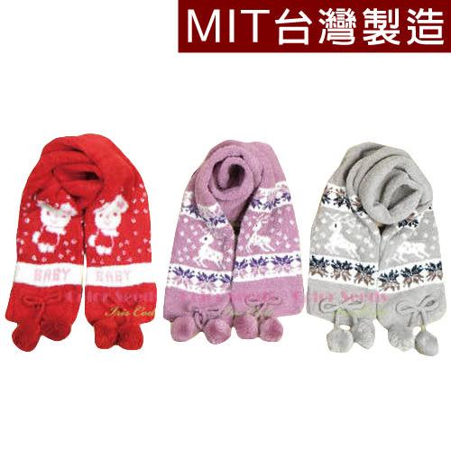 圍巾 圍脖  保暖圍巾 針織圍巾 彈性萊卡針織雙層 男女童 雪花麋鹿與小熊