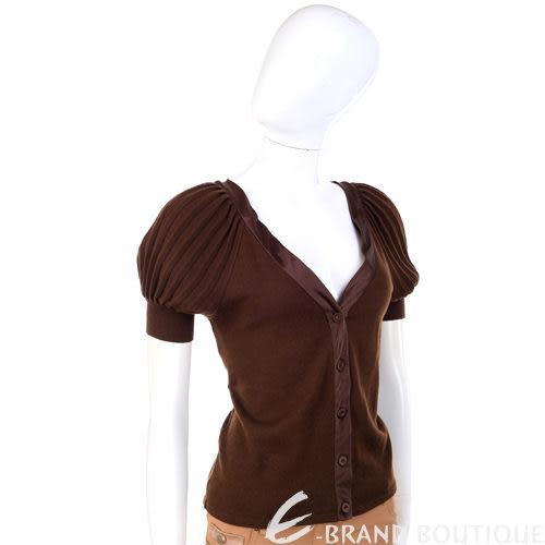 PHILOSOPHY 咖啡色抓褶袖排釦短袖上衣 0730362-07