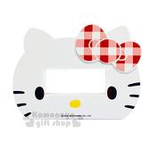 〔小禮堂〕Hello Kitty 橫式插座開關裝飾板《白.大臉.大孔.紅格蝴蝶結》輕鬆DIY佈置居家 8021044-60003