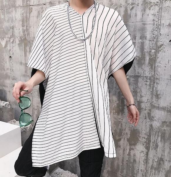 FINDSENSE H1夏季 新款 韓國 街頭 條紋拼接撞色  V領 時尚 寬鬆