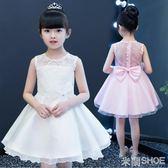 花童禮服 白色公主裙兒童蓬蓬女孩連身裙寶寶洋氣裙子