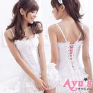 純白新娘 罩杯式性感純真白色系蕾絲新娘馬甲衣 - Ayu's
