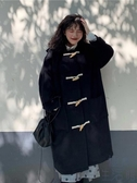 大衣外套女冬季寬松中長款牛角扣毛呢女秋冬韓版連帽【極簡生活】