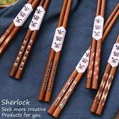 日式創意實木料理筷著高檔手工彩條筷