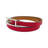 【台中米蘭站】全新品 HERMES 牛皮多圈穿扣式銀扣手環(梅紅)