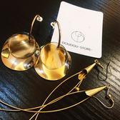 耳環復古歐美耳飾亞克力長款圓形大圓片金屬