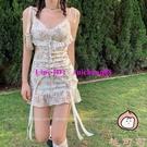 法式性感碎花吊帶夏季蕾絲復古短裙魚尾連身裙【桃可可服飾】