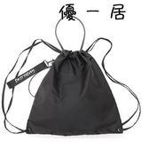 簡約束口袋抽繩袋飄帶後背包可單肩防水健身包Y-4190