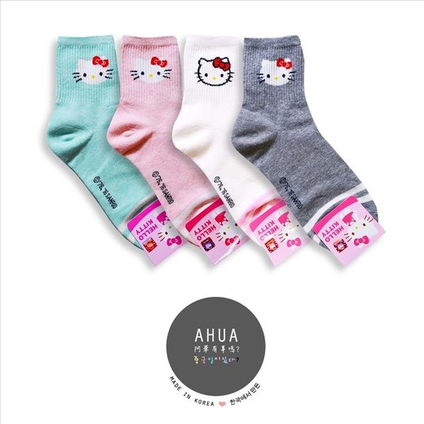 韓國品牌襪子 純色HELLO KITTY中筒襪❤️短襪長襪絲襪隱形襪 運動復古 文青情侶 阿華有事嗎