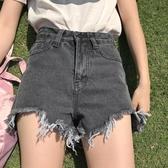 夏裝韓國高腰顯瘦復古個性毛邊高腰百搭牛仔褲短褲闊腿褲直筒褲女