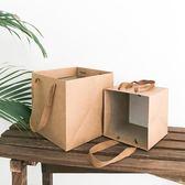 復古牛皮禮物袋大容量方形紙袋手提生日伴手禮純色紙袋子禮品簡約【全館89折低價促銷】