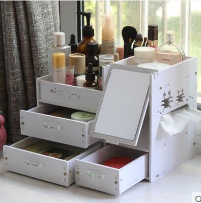 藍格子 大號抽屜式桌面化妝品收納盒創意桌面收納盒塑料帶鏡子