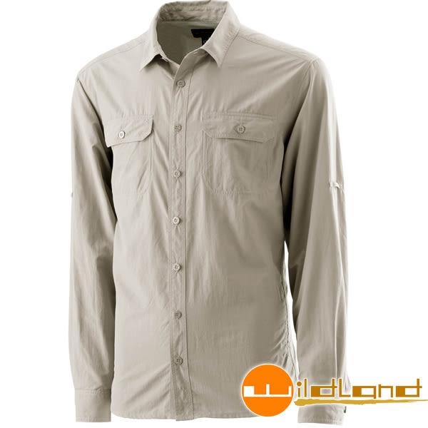 Wildland荒野 W1202-83白卡其 男可調節抗UV襯衫