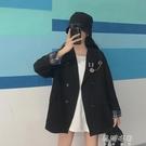 秋季新款學院風設計感別針裝飾寬鬆雙排扣小個子西裝外套女潮 蓓娜衣都