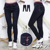 .HL超大尺碼.【16051020】俐落個性昆蟲飾伸縮腰單寧牛仔長褲 2色