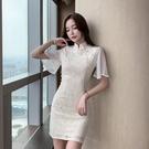 旗袍洋裝 2021年春夏新款年輕款復古改良版法式旗袍修身收腰顯瘦少女連身裙