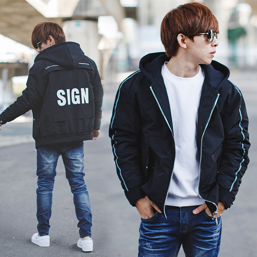 外套 韓國製SIGN造型拉鍊內裡鋪棉連帽外套【NB0718J】