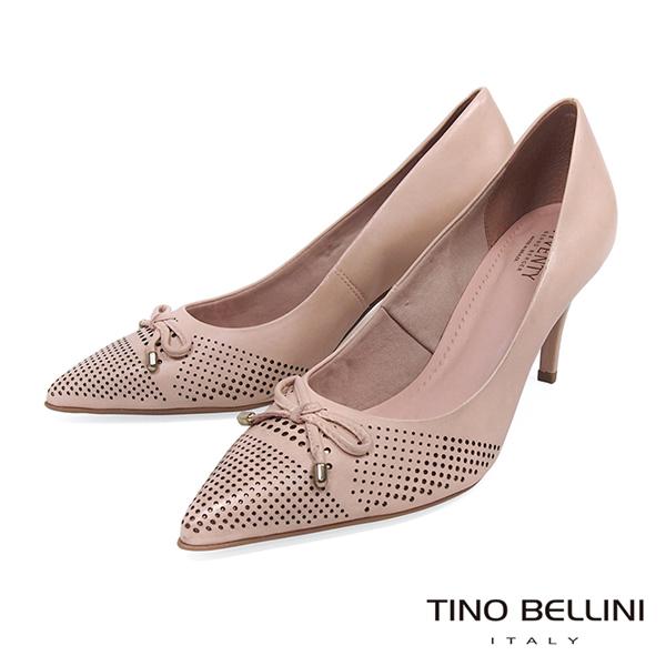 Tino Bellini 巴西進口典雅蝴蝶結沖孔尖楦跟鞋 _ 粉 B83243 歐洲進口款