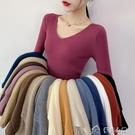 針織上衣女新款秋冬v領針織衫毛衣女百搭長袖修身打底外穿套頭內搭上衣 快速出貨