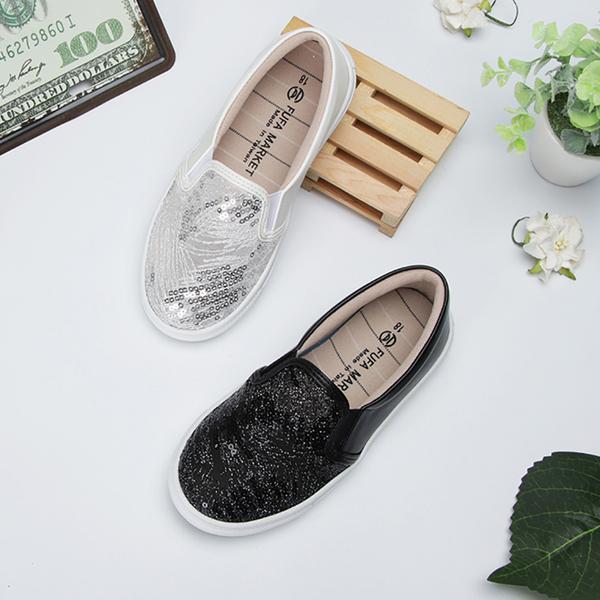 【富發牌】星沙網紋亮片兒童懶人鞋-黑/白  33BD39