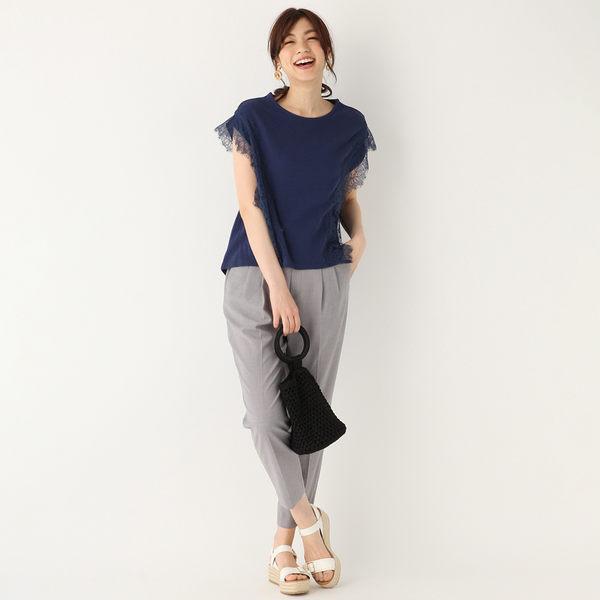 GLOBAL WORK女素色圓領蕾絲袖口造型短袖T恤上衣-四色