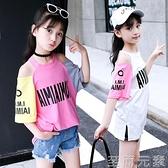 女童T恤新款夏裝棉麻露肩T恤上衣中大童洋氣字母印花加長體恤 至簡元素