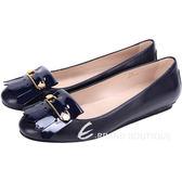 TOD'S 金屬別針流蘇飾拼接設計平底鞋(深藍色) 1510376-34