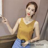 無袖上衣/新款韓版雪紡吊帶背心女夏外穿寬鬆短款性感T恤「歐洲站」