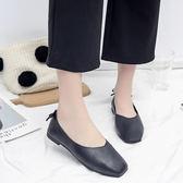 復古豆豆鞋方頭低跟平底單鞋
