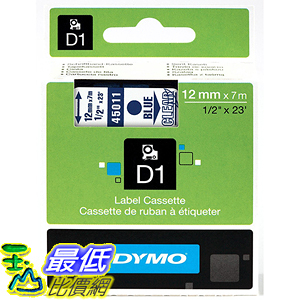 [美國直購] DYMO 45011 Standard D1 Self-Adhesive Polyester Tape for Label Makers 1/2 inch x 23 標籤紙