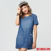 BOBSON 女款雙口袋拼接洋裝(27129-53)