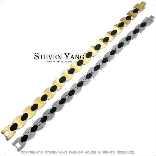手鍊 鈦鋼飾「金色鏈鎖」99%純鈦手鍊 健康磁石