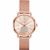 Michael Kors PORTIA 紐約腕錶-玫塊金x米蘭帶/37mm MK3845