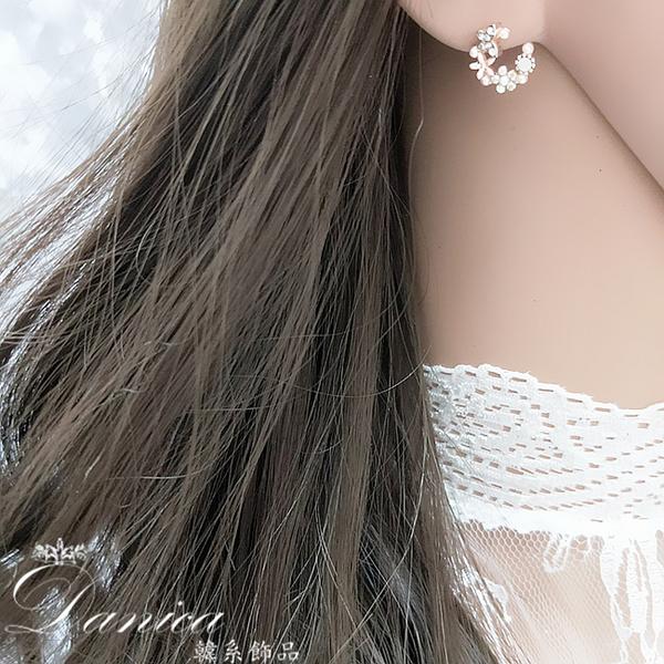 現貨 韓國熱賣女神氣質浪漫花朵花圈珍珠水鑽925銀針耳環 夾式耳環 S93494 批發價 Danica 韓系飾品