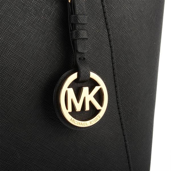 MICHAEL KORS Jet Set 防刮皮革雙側口袋托特包(黑色)611026-18