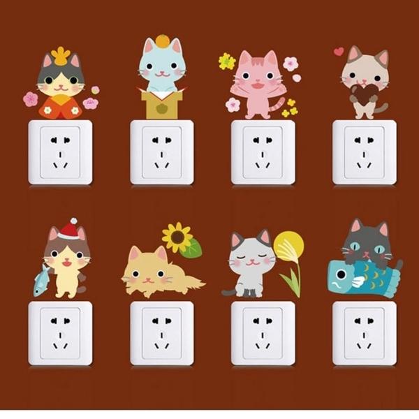 創意壁貼--彩色貓咪隨意貼 SK36006【AF01013-1065】99愛買小舖