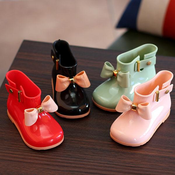 兒童雨鞋女童防滑雨靴寶寶水鞋兒童短筒雨靴膠鞋果凍水靴蝴蝶結