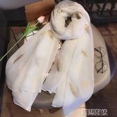 刺繡羽毛棉麻圍巾韓版純色長款披肩兩用防曬女士絲巾  創想數位
