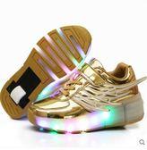 帶燈暴走鞋男童女孩單輪閃燈爆走鞋成人滑輪鞋有輪子的運動兒童鞋 曼莎時尚