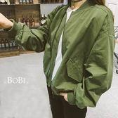 棒球外套 素色夾克百搭短款長袖外套【KLD04L】 BOBI  08/25