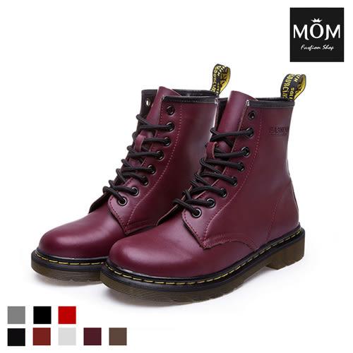 NG福利品出清 歐美經典款8孔綁帶真皮馬丁靴 短靴 工程靴【現貨】 *MOM*