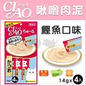 PetLand寵物樂園《日本CIAO》啾嚕液狀系列-肉泥貓零食(鰹魚)14gx4入 / 可添加在飼料