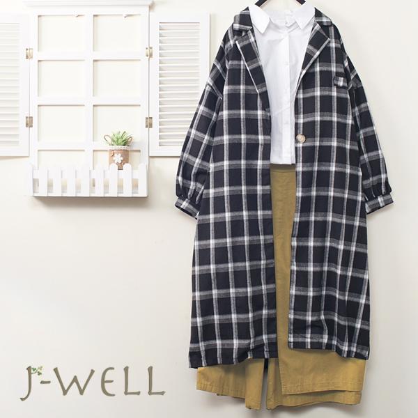 J-WELL 剪裁白襯衫黑白格外套貼口袋寬褲三件組(組合A522 9J1025黑白+8J1346白+8J1531卡)