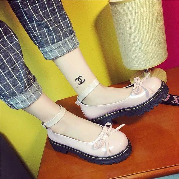 百搭女平底單鞋18日系軟妹洛麗塔lolita鬆糕厚底小皮鞋娃娃鞋圓頭