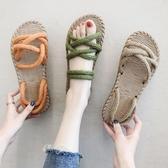 涼鞋夏季搭配長裙子的晚晚涼鞋仙女風平底網紅學生百搭潮新品