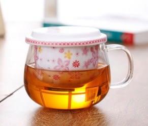 三件式陶瓷濾膽花茶杯 - 櫻花