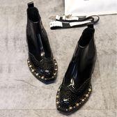 馬丁靴 ins馬丁靴女短筒新款漆皮布洛克鉚釘切爾西短靴女機車靴英倫女鞋 韓菲兒