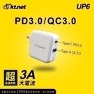免運 安規認證UP6 PDTYPEC+QC3.0 45W充電器 支援PD3.0及QC3.0